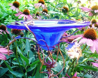 Bridal Shower Gift, Blue BUTTERFLY FEEDER, stained glass, suncatcher, garden stake, copper