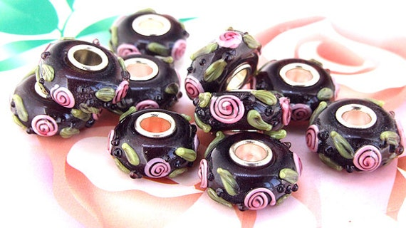 Large Hole 4.5mm 5beads/lot Charm Pink Flower Rondelle  Lampwork gemstone beads 8mmx15mm