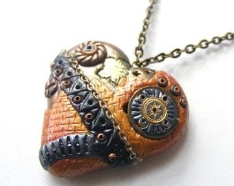 Steampunk heart golden black gear metall gothic,men jewelry polymer clay pendant, Statement eco friendly, beadwork bib boho necklace strand