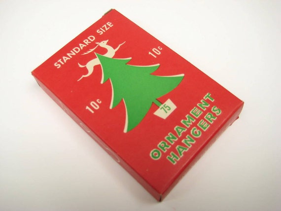 Vintage Christmas Tree Wire Ornament Hangers, Original Box, Tree and Reindeer Graphics - National Tinsel Mfg Co