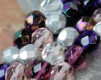 Czech Glass Beads 6mm Faceted in Purple Plum Mix -7 inch strand