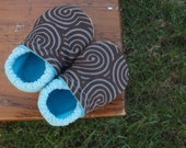 Baby Shoes for Boys - Brown Swirl and Blue Polka-Dot Prints - Custom Sizes 0-3 3-6 6-12 12-18 18-24 months 2T 3T 4T
