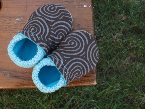 Baby Shoes for Boys - Brown Swirl and Blue Polka-Dot Prints - Custom Sizes 0-3 3-6 6-12 12-18 18-24 months