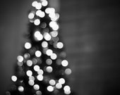 Black and White Christmas Photography - holiday decor lights bokeh sparkle photography black tree dark wall art prints - 8x10 Photograph