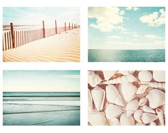 Beach & Ocean Photography Set - Four 11x14, 8x10, 8x8 Photographs - light blue beige pale white sea beach photo set ocean wall art pastel