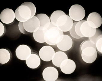 "Black and White Abstract Photography, bokeh lights print modern photo circles wall art cream dark grey gray photograph decor, ""Ambiance"""