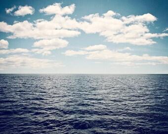 "Seascape Photography - ocean dark blue navy grey gray beach wall prints white clouds, 11x14, 8x10 Photograph, ""What Lies Over the Horizon"""