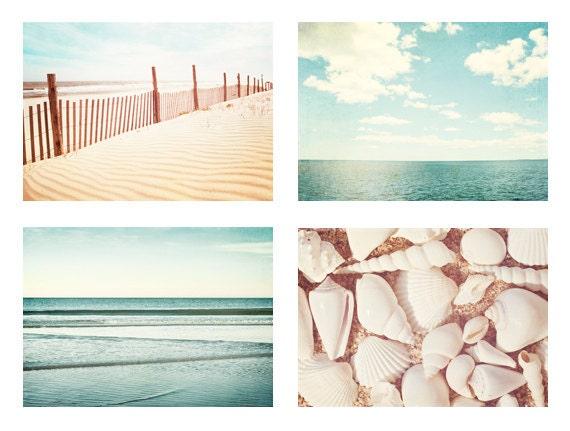 Beach & Ocean Photography Set - Four 11x14, 8x10, 8x8 Photographs - light blue beige pale white sea beach photo set ocean wall art pastel