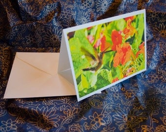 "One single, 5 1/2 x 7 3/8 Blank Photo Notecard with Envelope, ""Hummingbird Melody""."