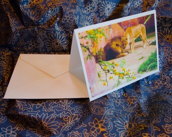 "One single, 5 1/2 x 7 3/8 Blank Photo Notecard with Envelope, ""Lion Love"""