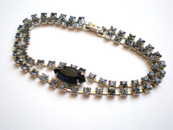 Vintage Rhinestone Bracelet, Blue, Double Strand