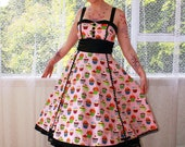 """Rockabilly Cupcake Dress """"Charlie"""" with Black Satin Trim, Button Detail and Ric Rac Trim - Custom made to fit"""