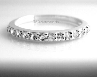 Brilliant white sapphire enternity stack ring, sapphire wedding band, sapphire stacking ring, fake diamond ring, D315HW 1.5mm