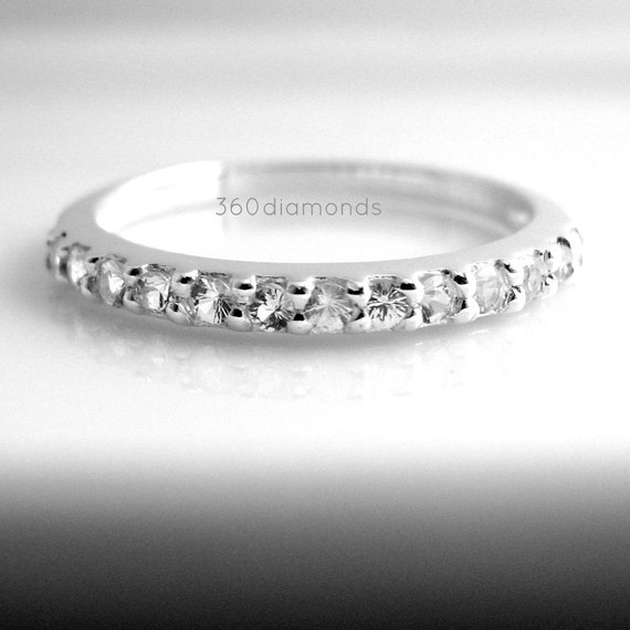 Brilliant white sapphire enternity stack ring, sapphire wedding band, sapphire stacking ring, fake diamond ring, D315HW 1.5mm