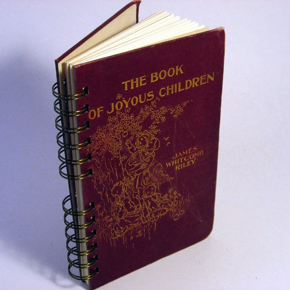 "1902 JOYOUS CHILDREN Handmade Journal Vintage Upcycled Book ""The Book of Joyous Children"""