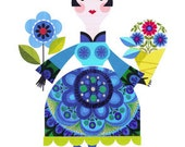 pretty lady with flowers print