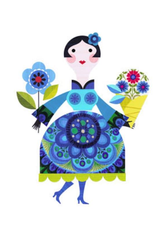 pretty lady with flowers print