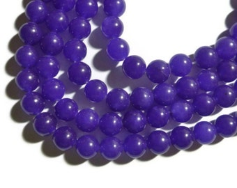 Purple Jade - 8mm Round Bead - Full Strand - 46 beads -  Amethyst Violet Grape