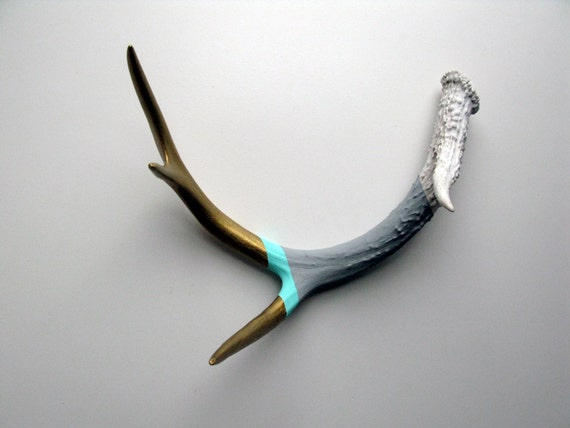 Gold, Aqua & Gray Striped Painted Antler - Large