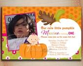 Pumpkin Birthday Invitation, Pumpkin Baby Shower Invitation, 1st Birthday Pumpkin Invitation with Photo-Digital File You Print