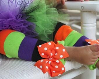 Halloween Leg Warmers -- Bow Leg Warmers -- purple, black, orange, apple green for baby girls