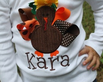 Thanksgiving Shirt for girls - Pretty Little Turkey - shirt for babies, toddlers and big girls- personalized with name