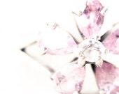 "Frozen flower Jewelry photography 8x8"" Minimalist photo Winter holiday wall decor Macro Pink white"