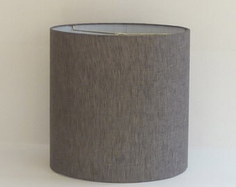 Medium Modern Gray Linen Drum Lampshade