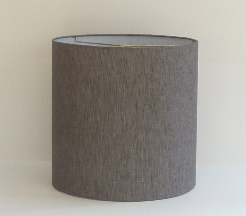 Mid Century Modern Gray Linen Drum Lampshade By