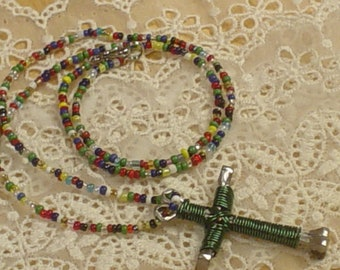 Handmade Disciple Nail Wrapped Cross with Seed Beads, Victorian, Christian, Cottage Chic, Bohemian, Unique, Eclectic, Whimsical, Gypsy, OOAK