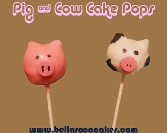 Pig & Cow Cake Pops (Farm Animals) / 1 Dozen / Baby Shower, Gender Reveal, Cake, Chocolate, Party, Birthday, Children