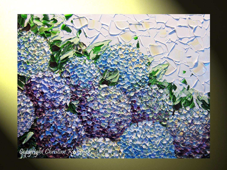 Original Art Abstract Painting Hydrangea Textured Flowers