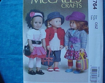 McCalls 6764 Crafts American Girl Pattern.
