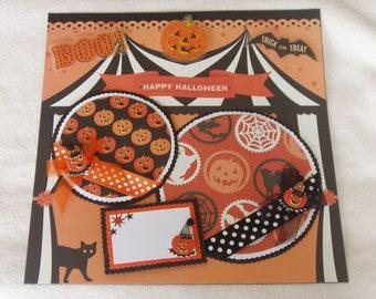 Happy Halloween Carnival Pumpkins Trick or Treat 12x12 Premade Scrapbook Page by KARI