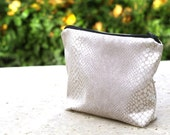 Bridesmaid gift , Wedding Pouch, Accessory Pouch, Makeup pouch, Toiletry bag, Utility Bag, Silver Travel Bag