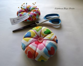 Round Pincushion - 2 of hears Fabric