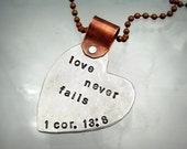 Heart Necklace - Mixed Metal Hand Stamped Jewelry - Scripture - Love Never Fails - Personalized Necklace - Scripture Necklace (104)
