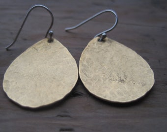 Teardrop Brass Hammered Metal Drop Dangle Earrings with Sterling Silver Hook