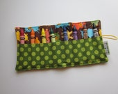 JUMBO TODDLER Crayon Roll, Bermuda Pigs with Moss Ta Dot,  olds 8 Jumbo Toddler Crayons, Ready to Ship