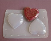 TWO Extra Large Heart Soft Flexible Casting Resin No Release Needed Resin Mold Jewelry Flatback