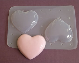 TWO Extra Large Puffy Heart Clear Soft Flexible Casting Resin No Release Needed Mold Jewelry Resin Air Dry Clay Cabochon