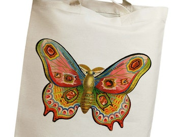 Colorful Moth Vintage Eco Friendly Canvas Tote Bag (ili005)