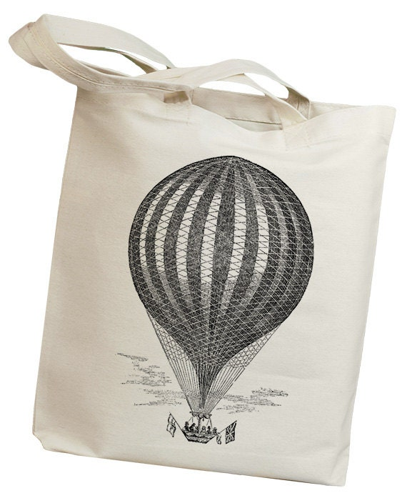 Hot Air Balloon 02 Vintage Eco Friendly Canvas Tote Bag (iss005)