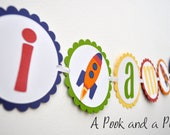 Outer Space Rocket Ship I am 1 First Birthday High Chair Banner