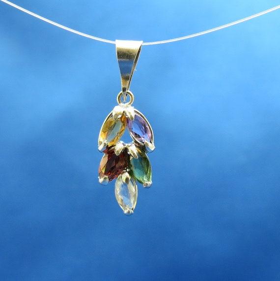 SALE Perfectly petite gemstone cluster pendant