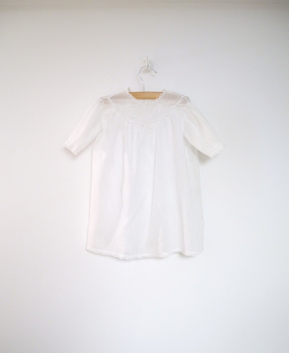 1930's Handmade Embroidered White Lace Christening Gown