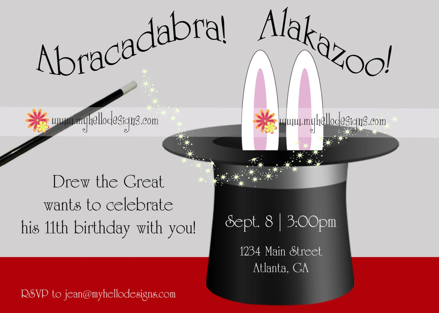 Birthday Invitations: Magic with Hat & Bunny