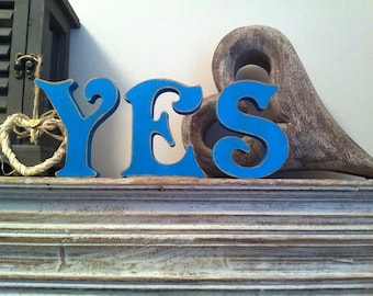 Handpainted Wooden Letters Letters - YES - Victorian Font - 10cm - Photo Props weddings engagements
