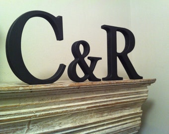 Wooden Wedding Letters, Photo Props - Set of 3 - Free-standing, 20cm, 15cm, Various Colours & Finishes