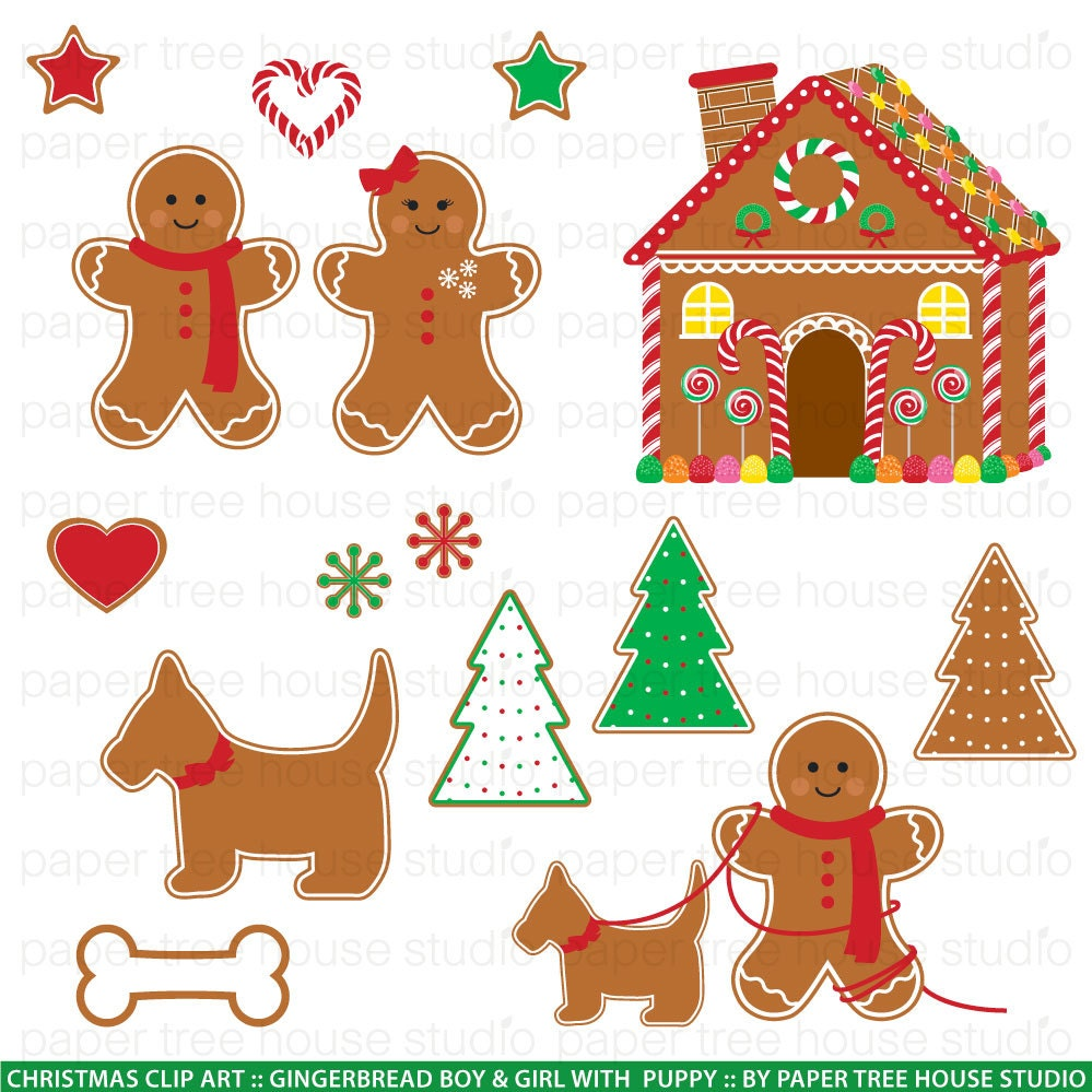 Clip Art Set Gingerbread Boy Girl Puppy And House